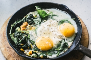 Wednesday's Specials: Baked Eggs with Spinach, Ricotta, Leek and ChargrilledPepper